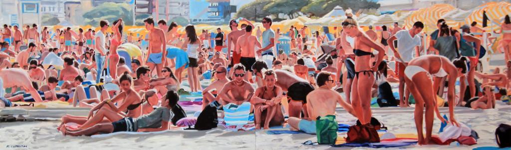 Al mare con gli amici una domenica di Agosto, 2015, olio su tela, cm 60 x 200